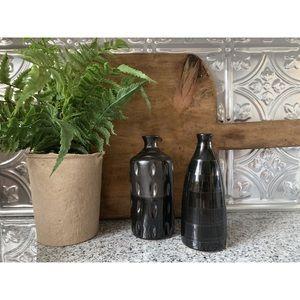 Set of 2 Small Black Ceramic Pottery Vases.